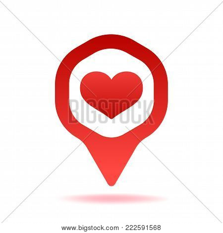 Map Pointer With Heart Shape Icon Vector Illustration. Red Location Pin GPS Symbol Isolated On White Background With Shadow