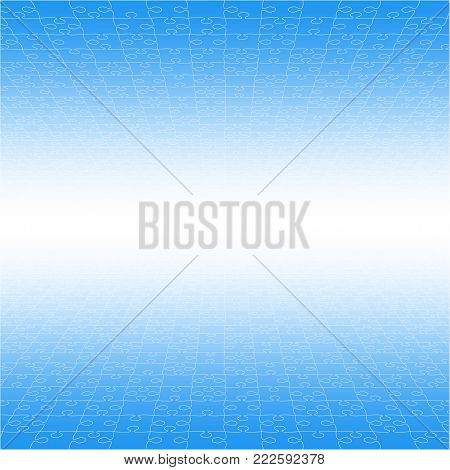 Perspective Blue Puzzles Pieces - Vector Illustration. Jigsaw Puzzle Blank Template. Vector Background.