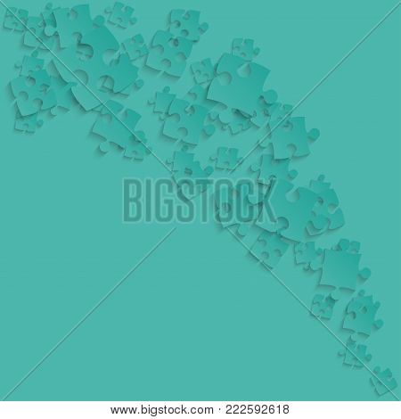 Teal Puzzles Pieces Square - Vector Illustration. Scattered Smoke Jigsaw Puzzle Blank Template. Vector Background.