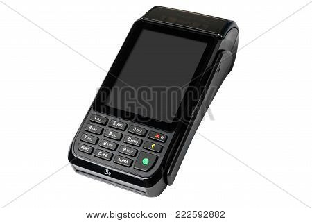 Pos Payment Terminal Isolated On White