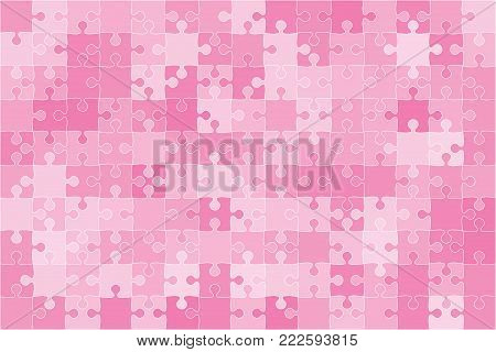 Pink 150 Puzzles Pieces Arranged in a Rectangle - Vector Illustration. Jigsaw Puzzle Blank Template. Vector Background.