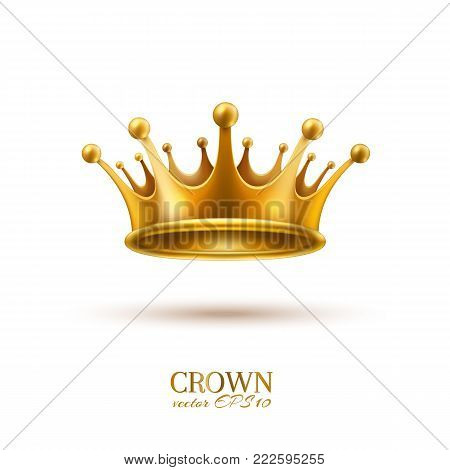 Golden crown 3d royal prince queen monarch king emperor tsar symbol realistic vector luxury VIP jewelry. Isolated illustration white background. Success, authority autocracy business leadership emblem