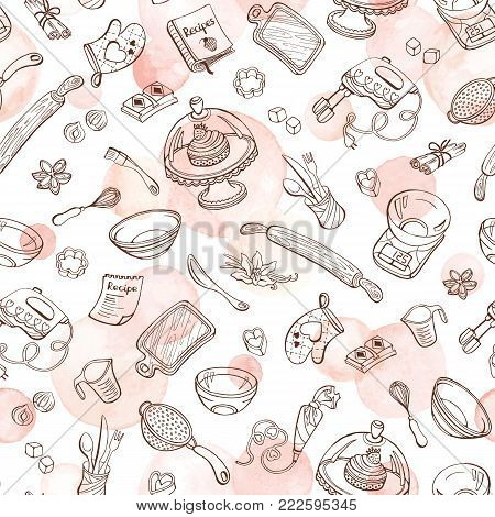 Baking doodle background. Vector seamless pattern with kitchen tools. Hand drawn baking utensils. Cooking tools with watercolor spots on background. Watercolor vector texture.