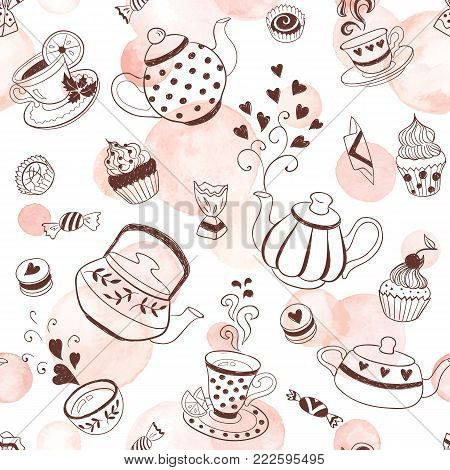 Tea time seamless pattern. Tea party background design. Hand drawn doodle illustration with teapots, cups and sweets. Watercolor vector texture.