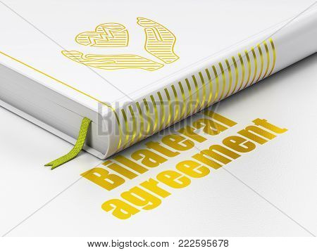 Insurance concept: closed book with Gold Heart And Palm icon and text Bilateral Agreement on floor, white background, 3D rendering
