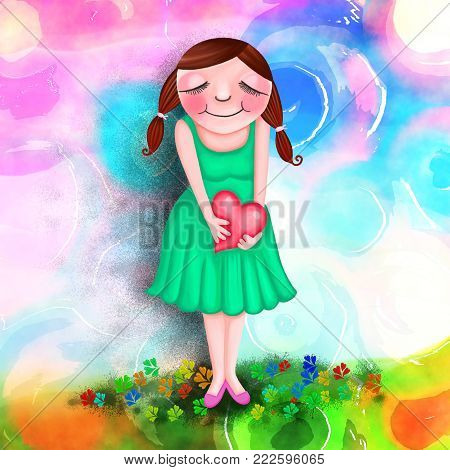 A cute whimsical painting of a young woman holding a heart.