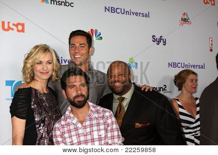 LOS ANGELES - AUG 1:  Yvonne Strahovski, Zach Levi, Mark Christopher Lawrence, Joshua Gomez (front) arriving at the NBC TCA Summer 2011 Party at SLS Hotel on August 1, 2011 in Los Angeles, CA