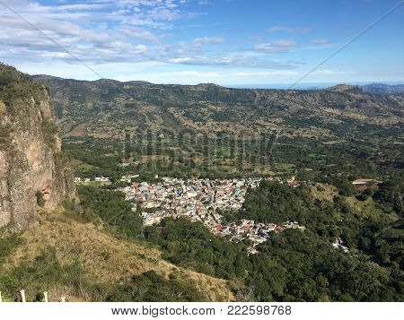 Beautiful view with blue sky and mountains in a sunny day at Alto Lucero, Veracruz, Mexico