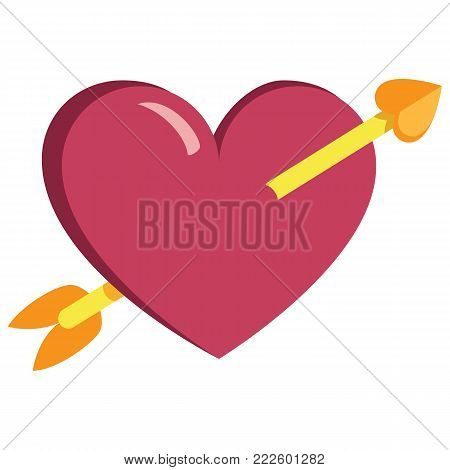 cute arrowed heart colorful isolated On White Background