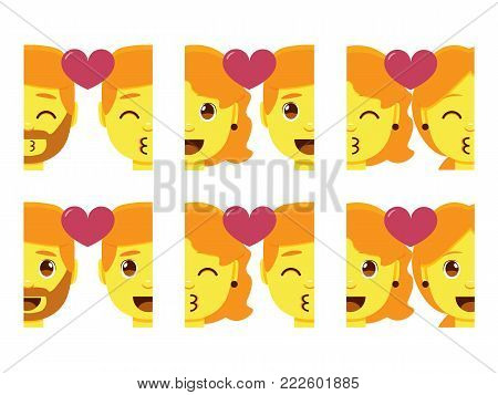 Set cute kawaii couple emojis colorful isolated