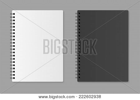 Realistic blank notebook on a gray background - stock vector.