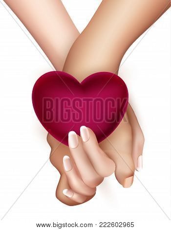 Realistic holding hands with heart isolated. Friendship, couple, love between man, woman. Man holding girl hand. Valentines day holiday, symbol of togetherness. Vector illustration, white background