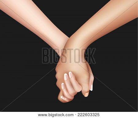 Realistic holding hands close up. Friendship, couple love between man, woman. Man holding girl hand. Valentines day holiday, symbol of togetherness. Vector illustration, black background