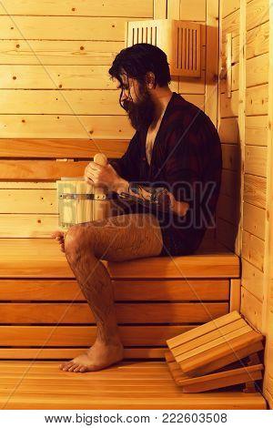 Handsome Bearded Man In Sauna