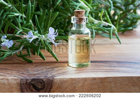 A bottle of rosemary essential oil with fresh blooming rosemary twigs on a wooden table