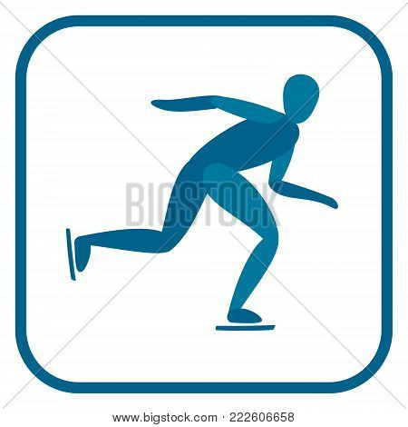 Speed skating emblem. Two color icon of the athlete.One of the pictogram from winter sports icons set. Vector illustration EPS-8.