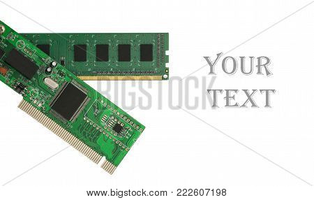 Ethernet NIC and RAM isolated on the white background.