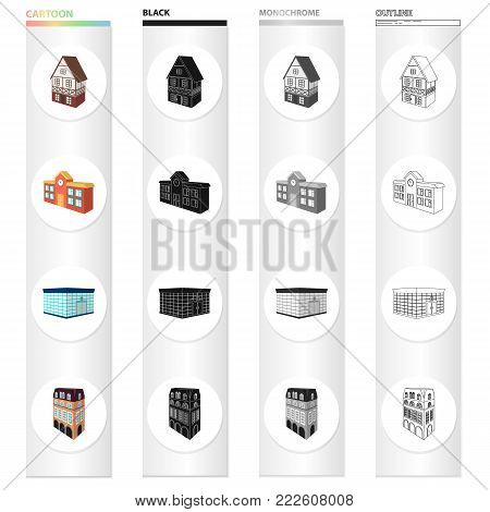Building, store, library, and other  icon in cartoon style. Penthouse, material, palace, icons in set collection.
