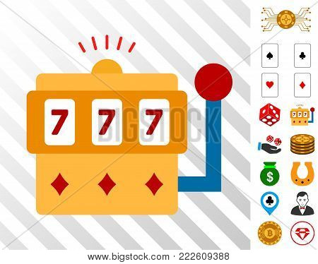 Gambling Machine icon with bonus gambling pictograms. Vector illustration style is flat iconic symbols. Designed for gambling software.