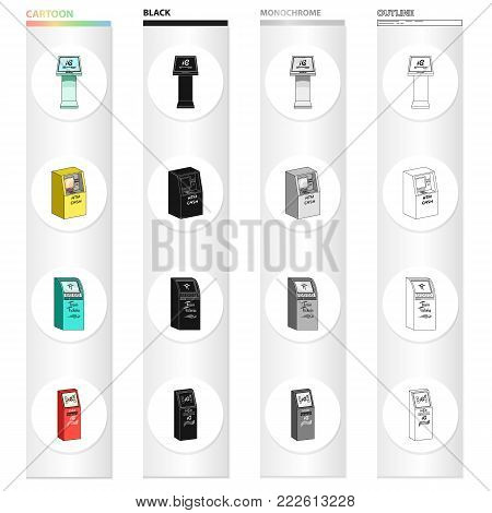 Information machine, cash terminal, ticket machine. Different types of terminal set collection icons in cartoon black monochrome outline style vector isometric symbol stock illustration .