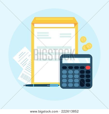 Accounting, bookkeeping, check financial statements, corporate paperwork concept isolated on the blue background. Graphic for websites, web banners, etc. Top view. Vector illustration