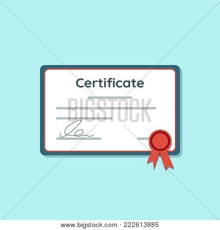 Certificate icon with red ribbon. Achievement or award grant, diploma concepts. Vector illustration