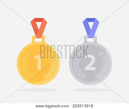 two medals for the first and second place. Golden medal with red ribbon and silver medal with blue ribbon. Vector illustration