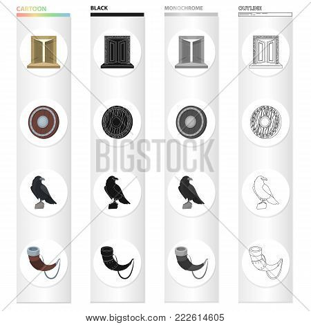 History, Vikings, weapons and other  icon in cartoon style. Sound, trumpet, call, icons in set collection.