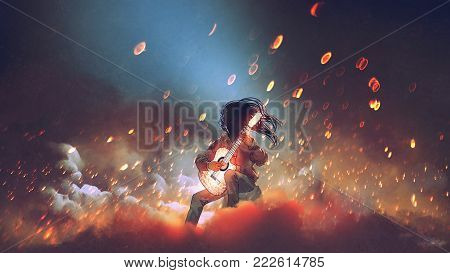 mysterious man playing the glowing guitar in the smoke, digital art style, illustration painting