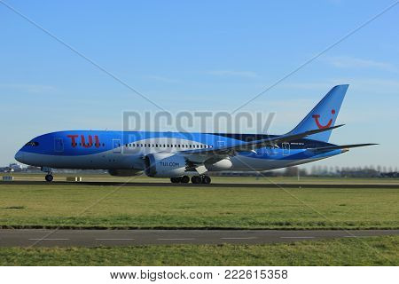 Amsterdam the Netherlands - January 7th 2018: PH-TFL TUI Airlines Netherlands Boeing 787-8 Dreamliner takeoff from Polderbaan runway.