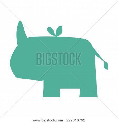 Rhino silhouette icon. Wild animals silhouette vector.