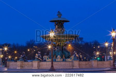 The fountain at the Place de la Concorde in Paris at night, France