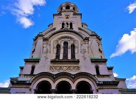 Sie view of Alexander Nevsky cathedral Sofia, Bulgaria