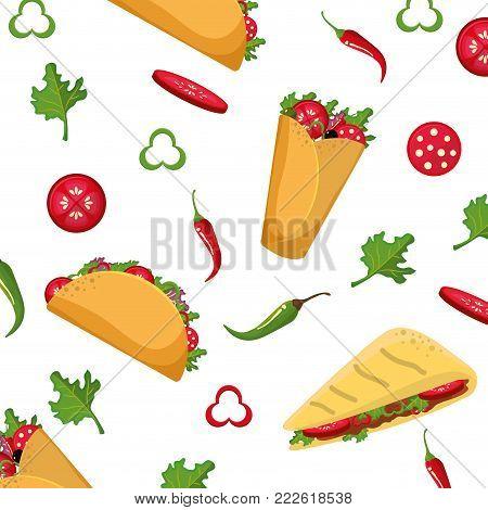 Taco quesadilla and burrito of mexican food snack and menu theme Vector illustration