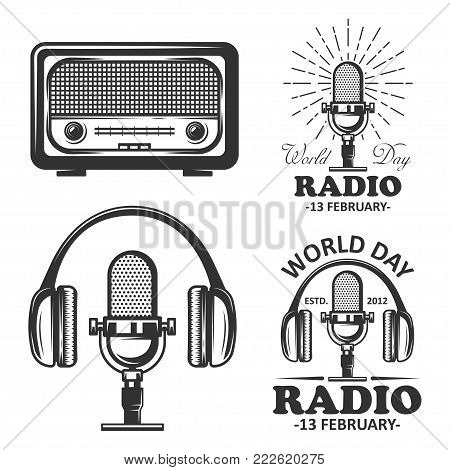 World radio day set of vector vintage emblems, labels, badges and logos in monochrome style. Radio, microphone, headphone objects in monochrome vintage style.