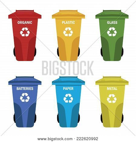 Different colored recycle waste bins vector illustration.Colored waste bins with trash.