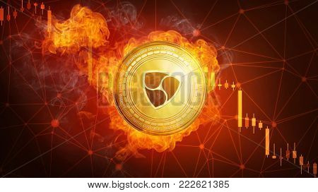Golden NEM coin in fire flame is falling. Burning crypto currency NEM falling down, blockchain cryptocurrency market crash bubble burst concept with down chart.