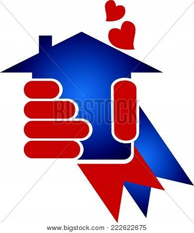 Real Estate Hand Hold Home Quality Love Ribbon American