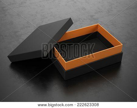 Opened Black Box on black background - Box Mockup, 3d rendering