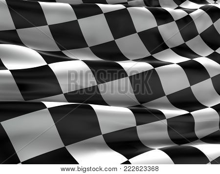 Checkered flag, finish flag, race flag. 3d rendering