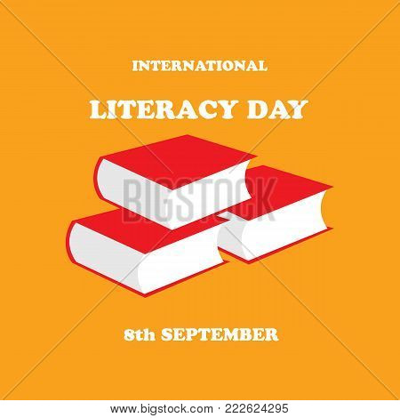 Vector illustration of International Literacy Day on a orange background