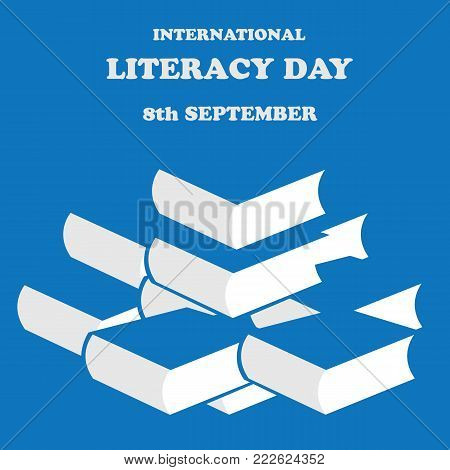 Vector illustration of International Literacy Day on a blue background