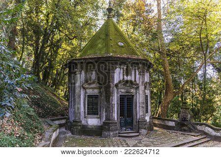 Chapel of Way of Cross in famous sanctuary Bom Jesus do Monte near Braga in historical Minho Province, Portugal