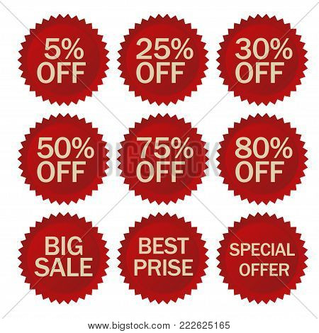 Discount stickers set. Red Sale Label. Special Advertising tags, Round shapes price symbol. Vector