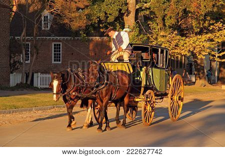 WILLIAMSBURG, VA - OCTOBER 6: The horse and carriage was a primary method of transportation used by the Virginia colonists October 6, 2017 in Williamsburg, VA