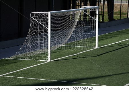 Empty Soccer Goal and a Beautiful Blue Sky