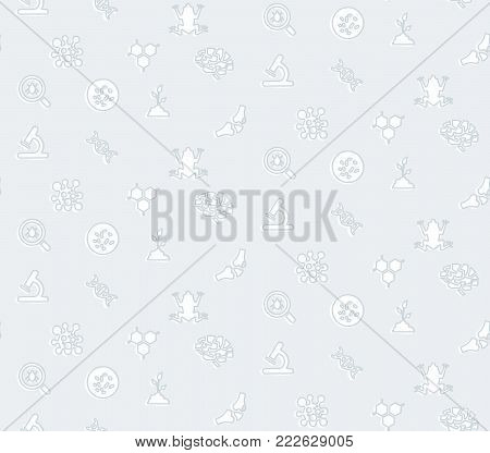 A seamless pattern on the theme of school and education. The subject of biology. Frog, formulas, flasks, microscope and other elements for the design of the background of the booklet, poster, leaflet.
