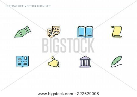 A set of outline vector icons on a theme school education. Subject literature. Pen, theater, mask, book.