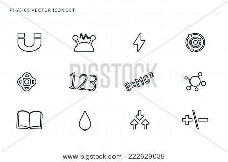 A set of outline vector icons on a theme school education. The subject of physics. Magnet, formulas, veil, core.