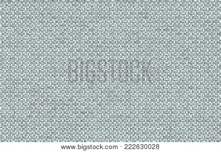 This unique background in aqua, black, and white is a grid formed by intersecting vertical and horizontal strands filled with random dots and lines.